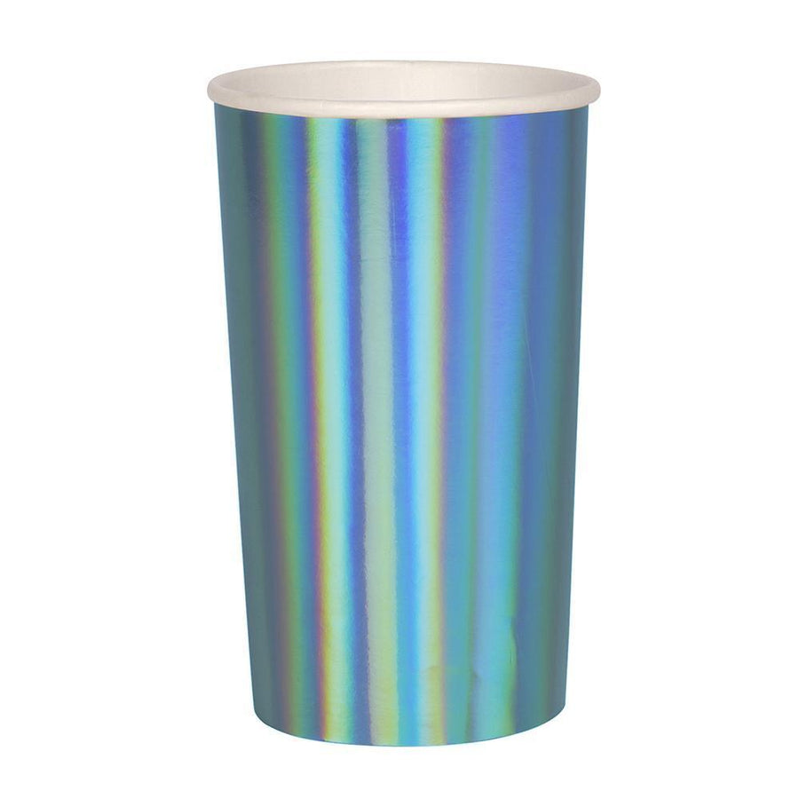Meri Meri Holographic Blue Highball Cups