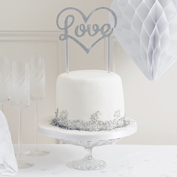 """Love"" Glitter Cake Topper - Silver, TT-Talking Tables, Putti Fine Furnishings"