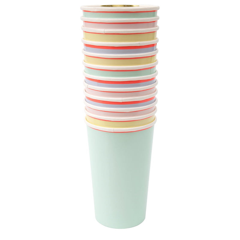 Meri Meri Neon Edge Pastel Highball Paper Cups | Le Petite Putti Party Canada