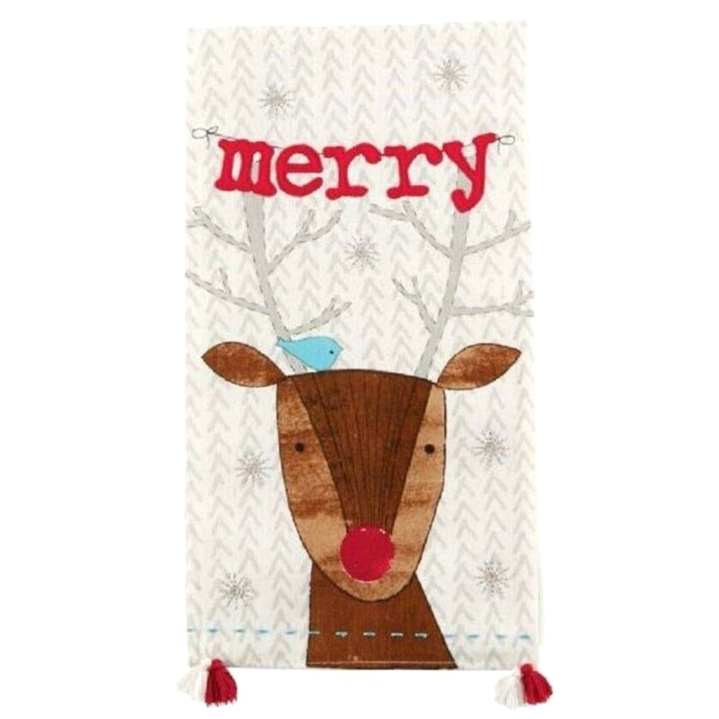 """Merry"" Reindeer Whimsy Dish Towel"