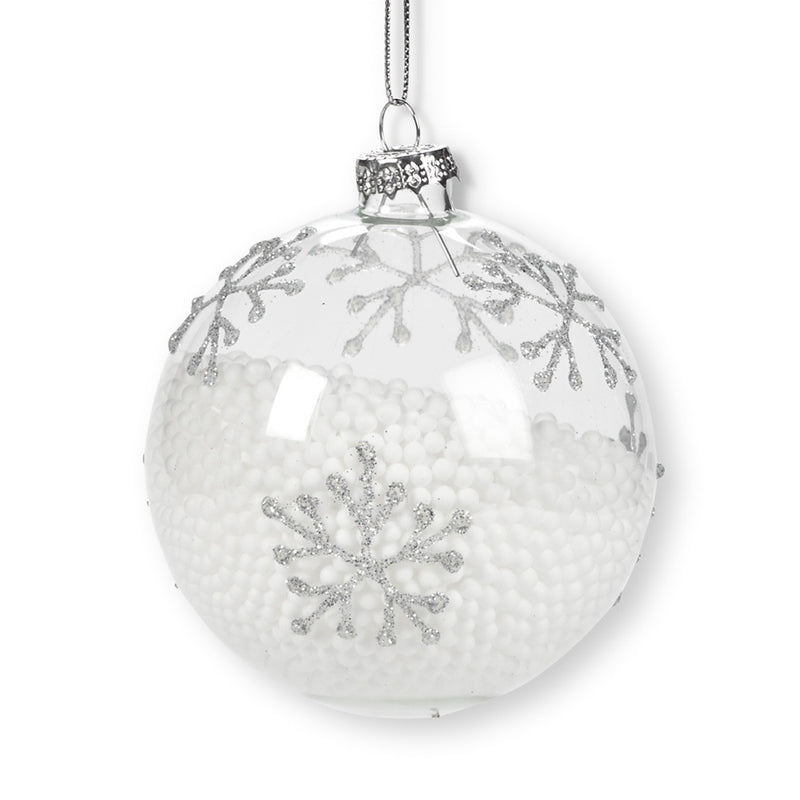Glass Ball Ornament with Snowflakes and Snow