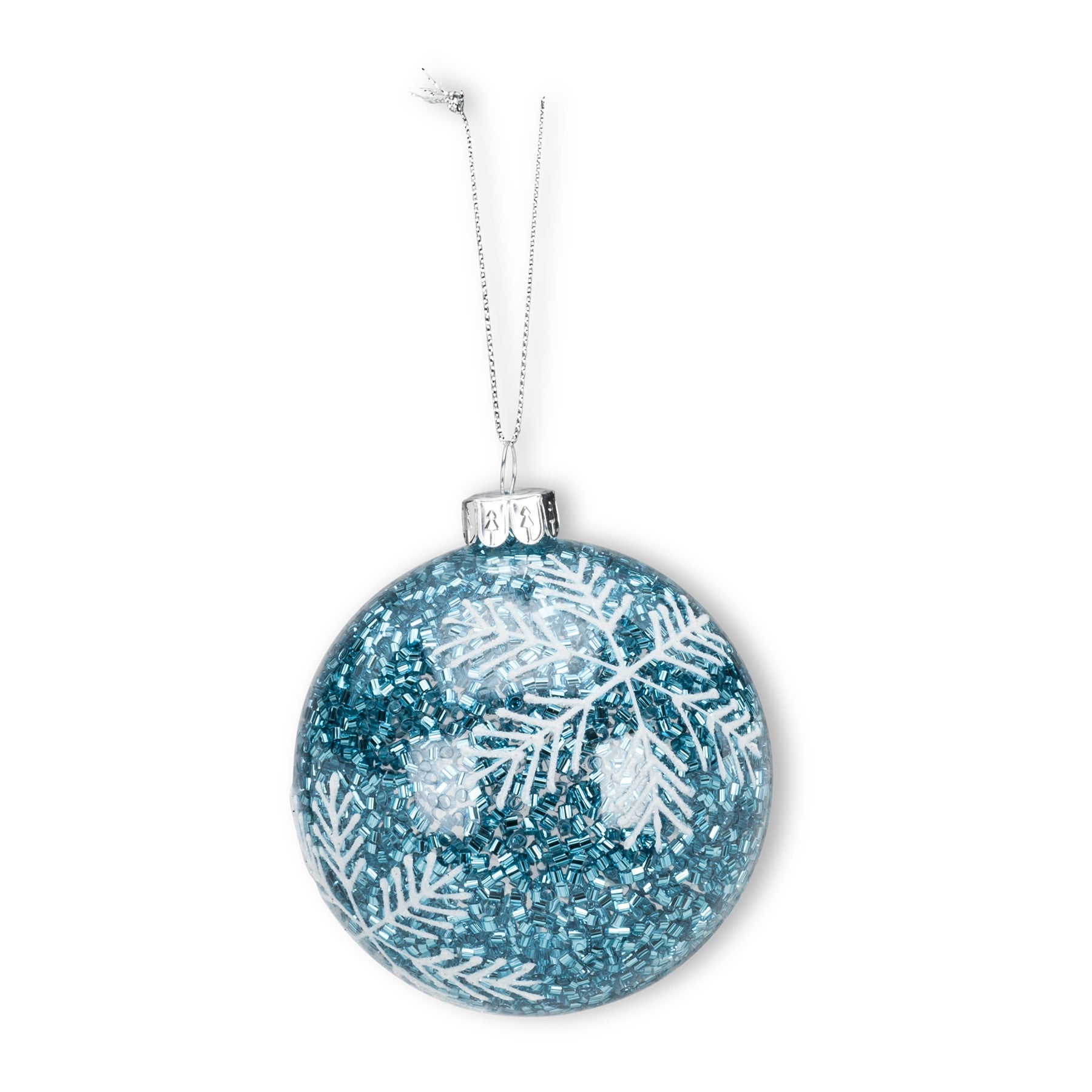 Turquoise Glitter Snowflake Ornament, AC-Abbott Collection, Putti Fine Furnishings