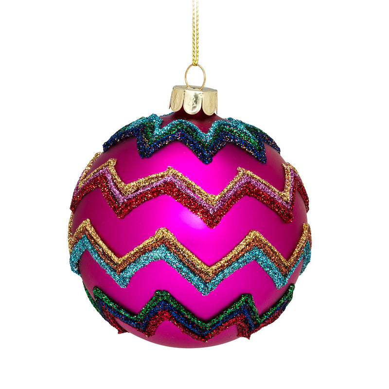 Bright Zigzag Ball Ornament, AC-Abbott Collection, Putti Fine Furnishings