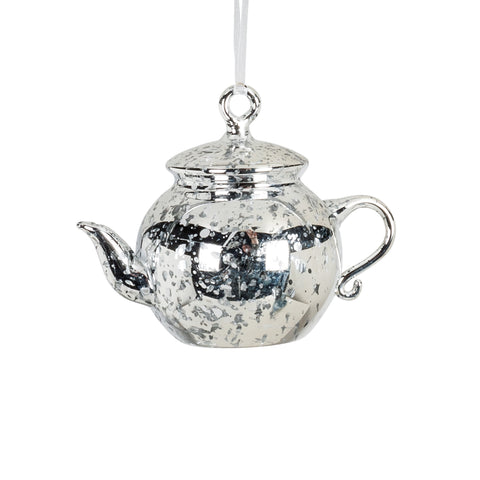 Antique Silver Teapot Ornament -  Christmas - AC-Abbot Collection - Putti Fine Furnishings Toronto Canada