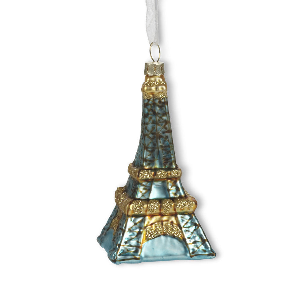 Aqua Eiffel Tower Glass Ornament - Small-Christmas Decorations-AC-Abbott Collection-Putti Fine Furnishings