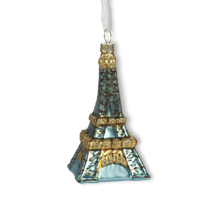 Aqua Eiffel Tower Glass Ornament - Small