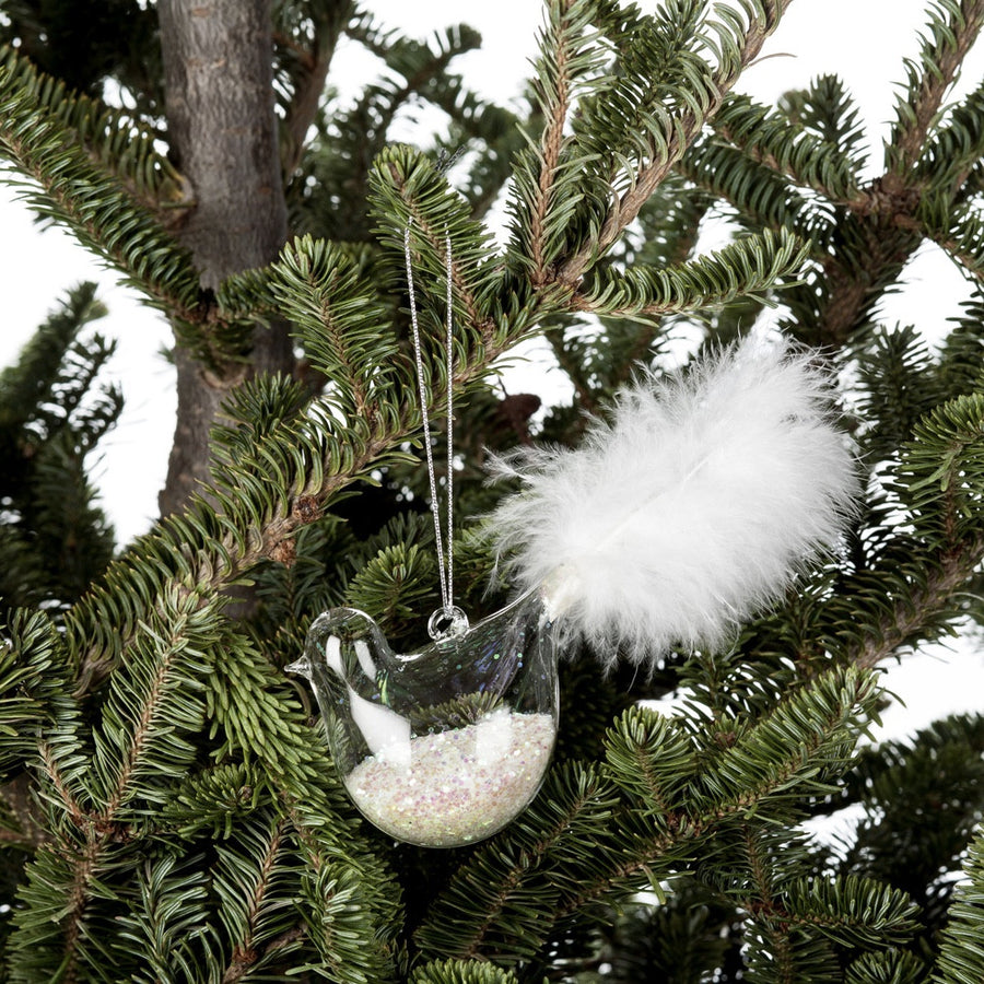 Bird Ornamentwith Feather Tail & Glitter
