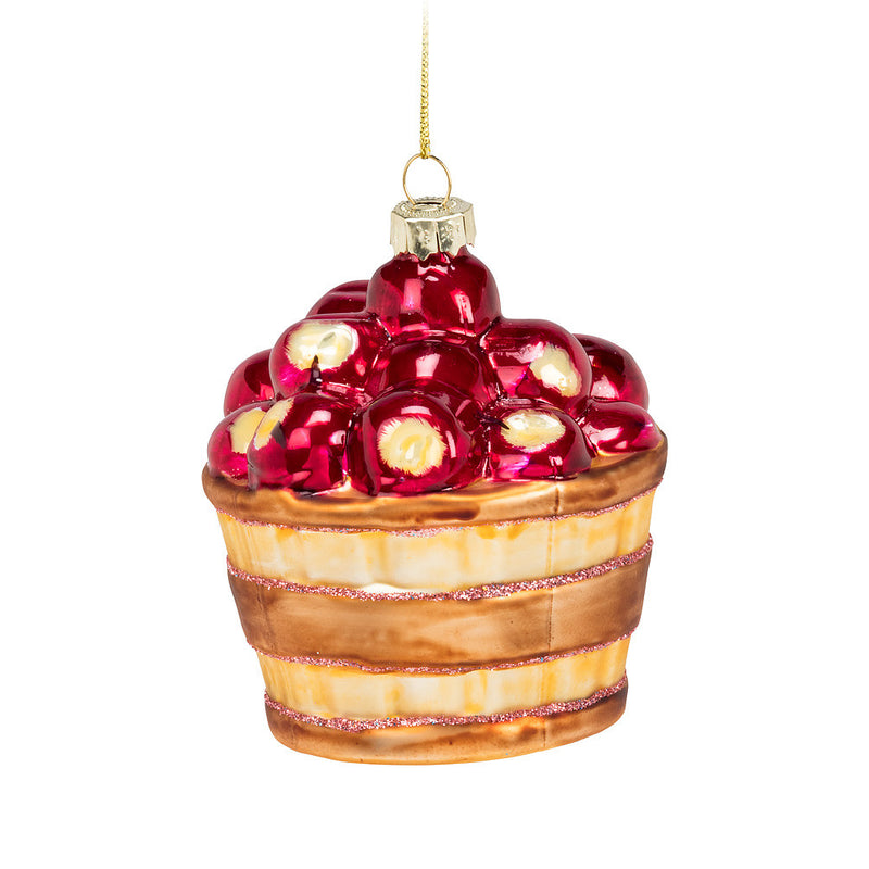 Basket of Apples Glass Ornament, AC-Abbott Collection, Putti Fine Furnishings