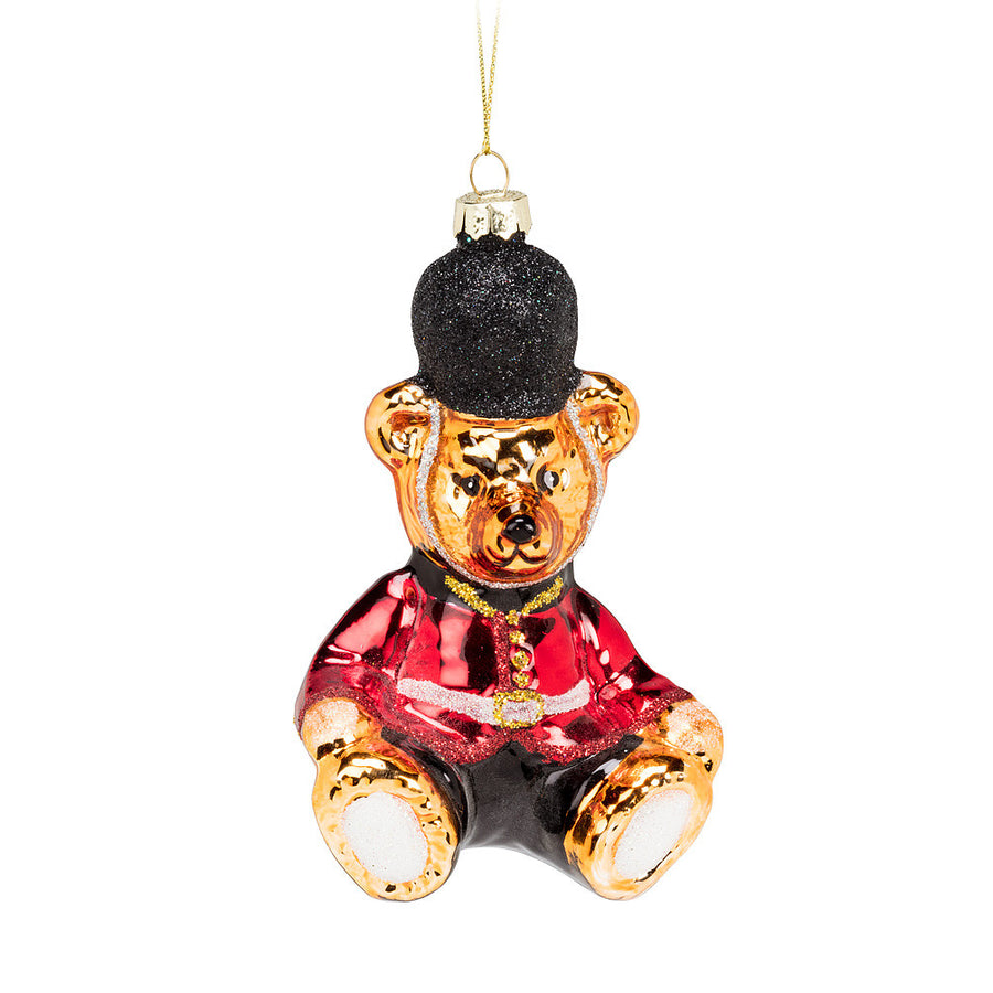 Teddy Bear in Uniform Glass Ornament, AC-Abbott Collection, Putti Fine Furnishings