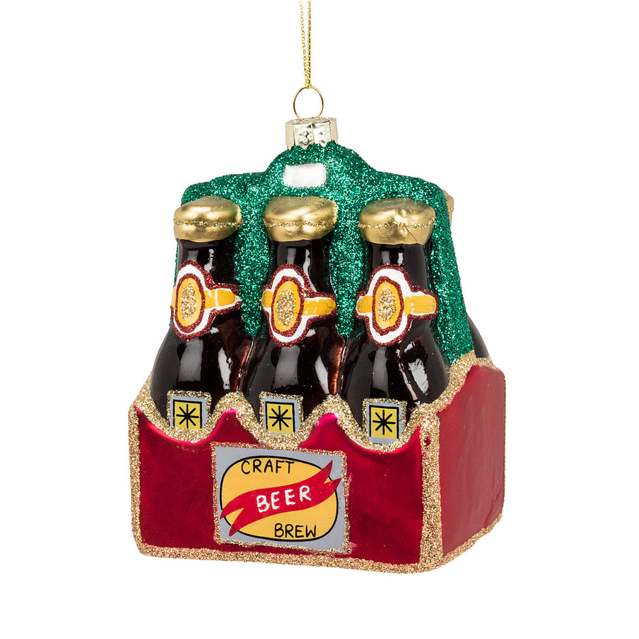Six Pack Beer Bottle Glass Ornament