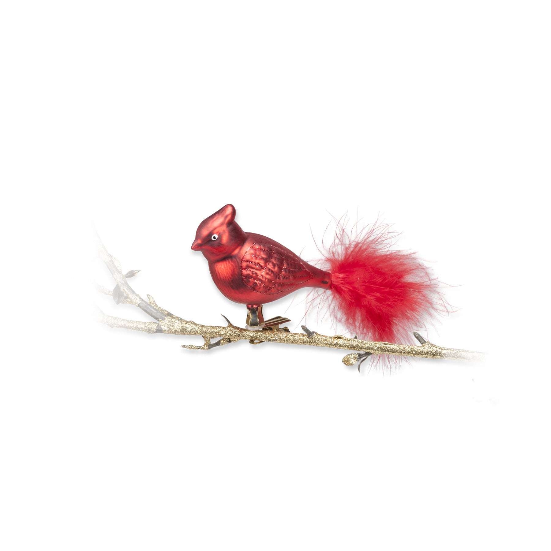 Red Glass Cardinal Ornament, Ac Abbott Collection, Putti Fine Furnishings