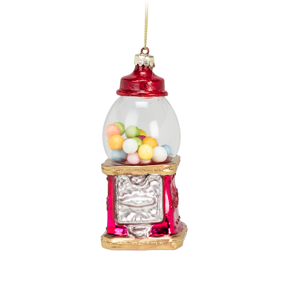 Red Gumball Machine Glass Ornament