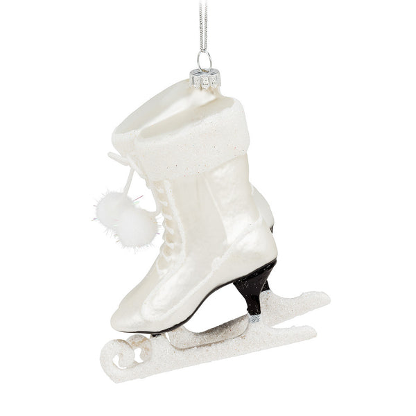 White Fancy Skate Ornament, AC-Abbott Collection, Putti Fine Furnishings