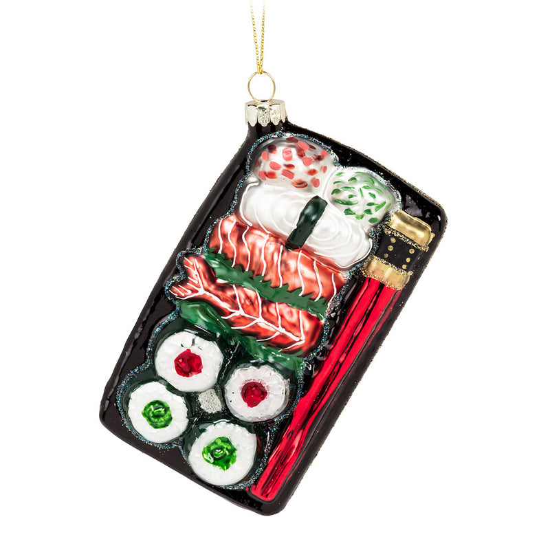 Sushi Plate Glass Ornament