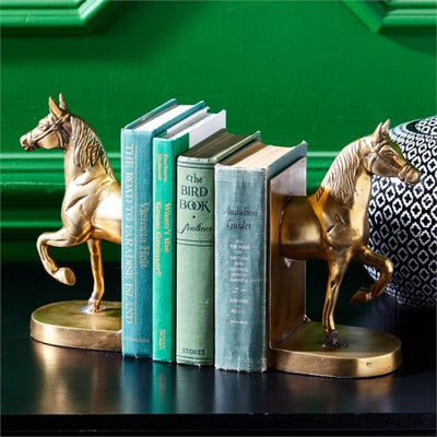 Antique Gold Horse Bookends - Pair-Decorative Accessories-TC-Two's Company-Putti Fine Furnishings