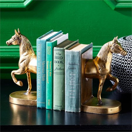 Antique Gold Horse Bookends - Pair