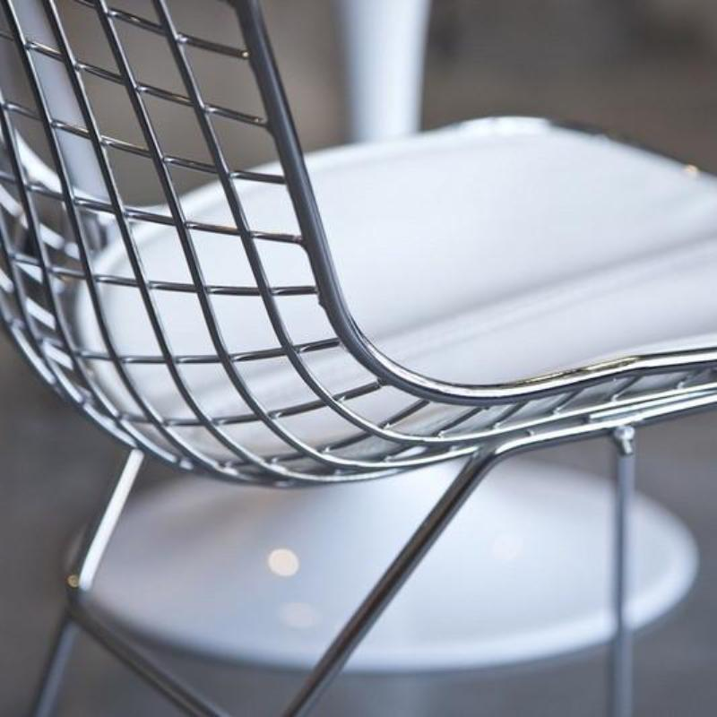 """Bertoia"" Style Chrome Chair with White Seat"