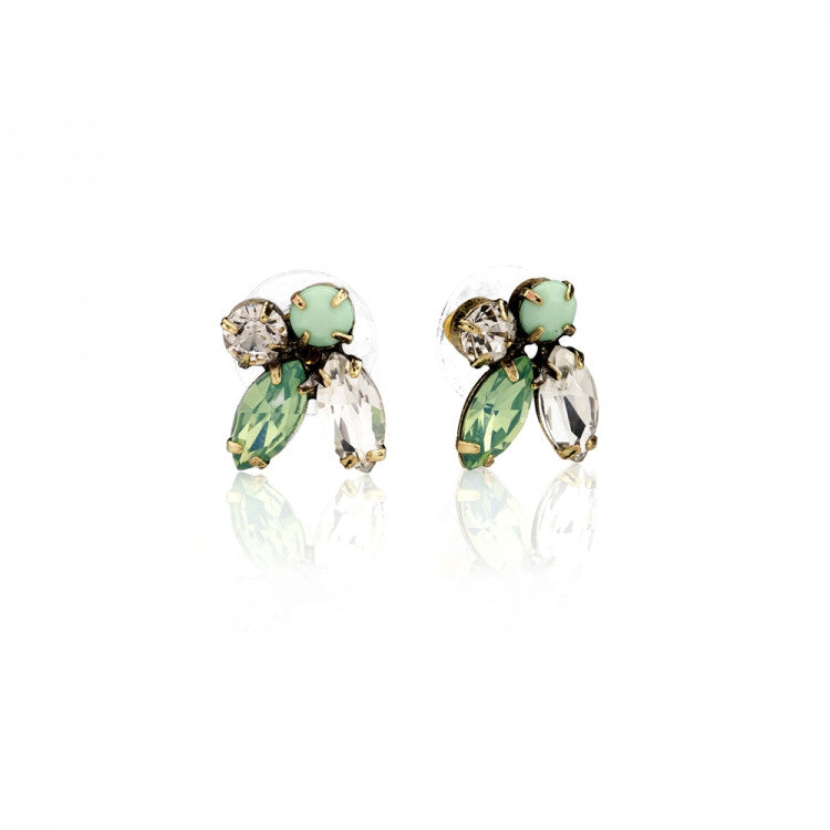 Lovett & Co. Diamante 1950's Pacific Opal Cluster Earrings