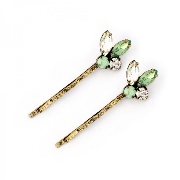 Lovett & Co Diamante 1950s Pacific Opal Cluster Hairclips