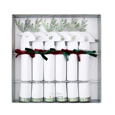 Meri Meri White Reindeer Christmas Crackers | Putti Christmas Celebrations