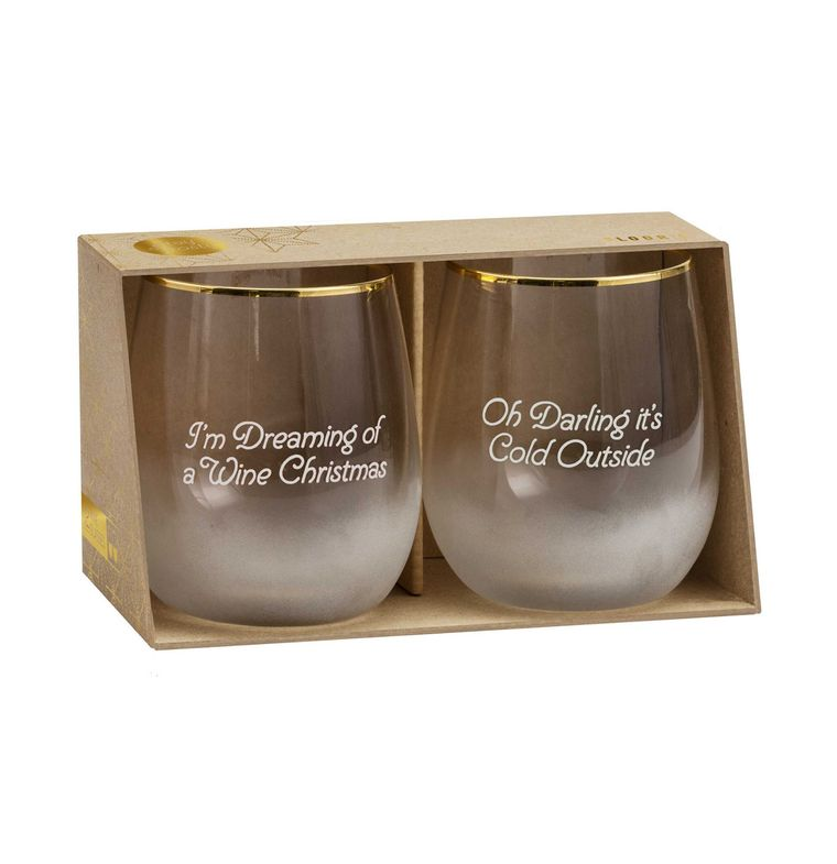 Floor 9 Christmas Stemless Wine Glasses Set With Gold Rim - Putti