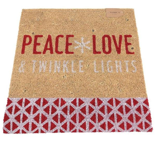 """Peace Love & Twinkle Lights"" Lighted Doormat Mat"