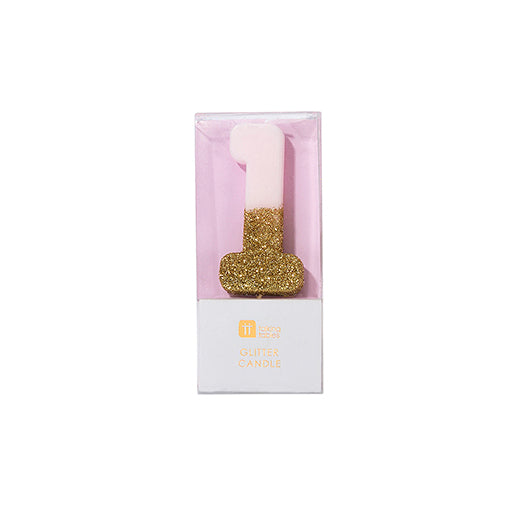 """We Heart Birthdays"" Pink Glitter Number Candle - One"
