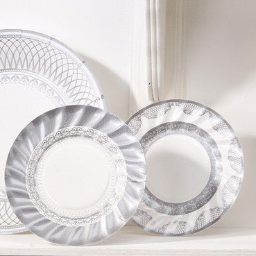 Party Porcelain Silver Small Paper Plates -  Party Supplies - Talking Tables - Putti Fine Furnishings Toronto Canada - 5