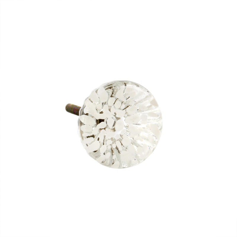 Anemone Glass Knob - White