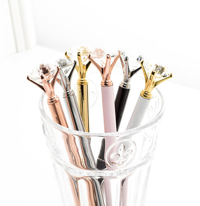 Pen with Large Gem - Rose Gold | Putti Fine Furnishings Canada