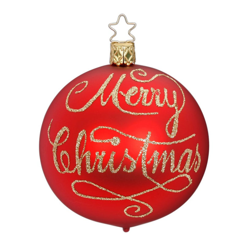 "Inge Glas ""Merry Christmas"" Red Glass Ball Ornament"