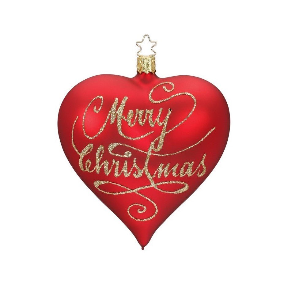 "Inge Glas ""Merry Christmas"" Glass Heart Ornament 