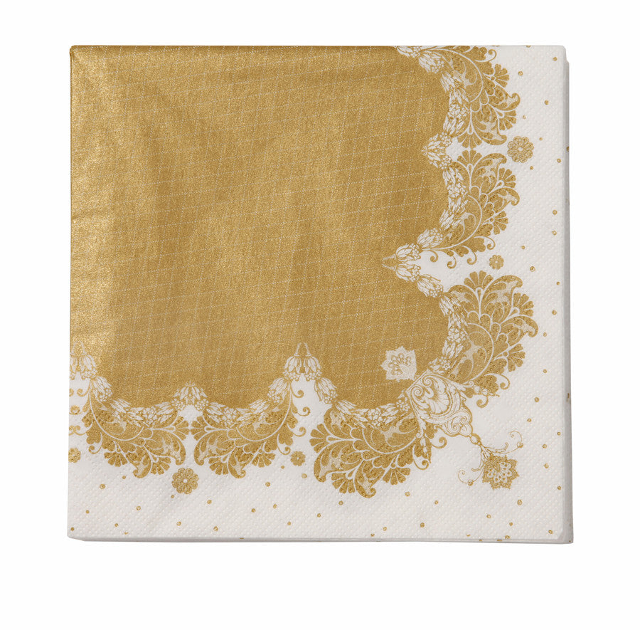 Party Porcelain Gold Lace Paper Luncheon Napkins -  Paper Napkins - Talking Tables - Putti Fine Furnishings Toronto Canada - 2