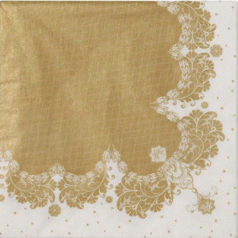 Party Porcelain Gold Lace Paper Luncheon Napkins