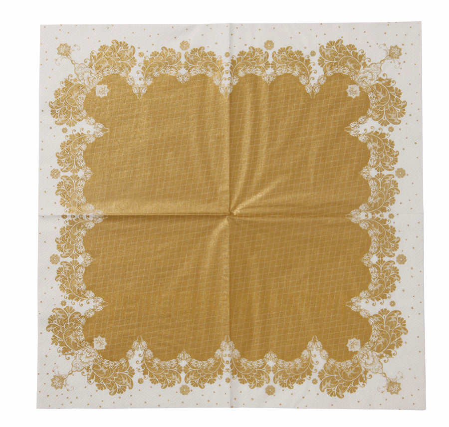 Party Porcelain Gold Lace Paper Luncheon Napkins -  Paper Napkins - Talking Tables - Putti Fine Furnishings Toronto Canada - 4
