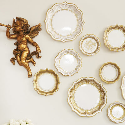 Party Porcelain Gold Large Paper Plates, TT-Talking Tables, Putti Fine Furnishings