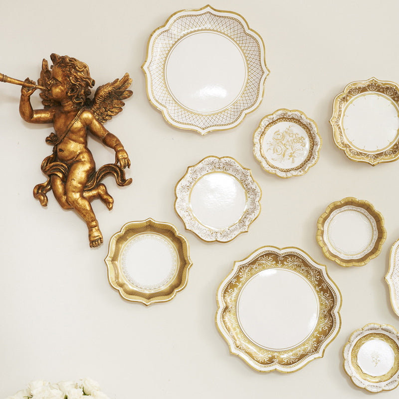 Party Porcelain Gold Small Paper Plates, TT-Talking Tables, Putti Fine Furnishings