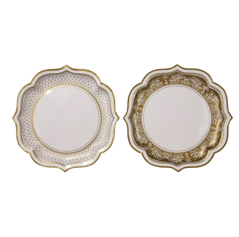 Party Porcelain Gold Paper Serving Plates -  Paper Plates - Talking Tables - Putti Fine Furnishings Toronto Canada - 1