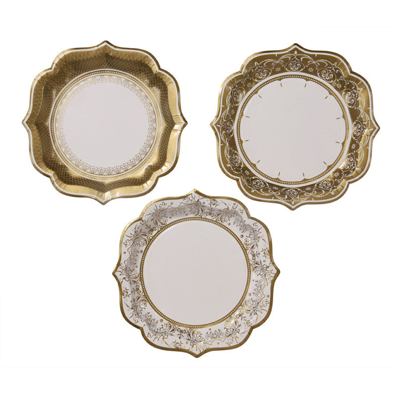 Party Porcelain Gold Medium Paper Plates, TT-Talking Tables, Putti Fine Furnishings