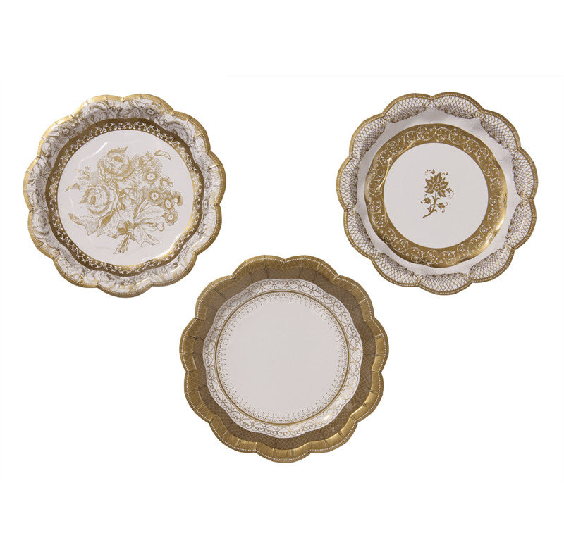 Party Porcelain Gold Small Paper Plates-Party Supplies-TT-Talking Tables-Putti Fine Furnishings