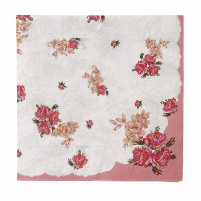 Truly Scrumptious Pink Foral Dinner Napkin -  Party Supplies - Talking Tables - Putti Fine Furnishings Toronto Canada - 2