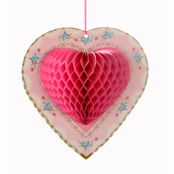 Honeycomb Heart  - Pink -  Party Decorations - Talking Tables - Putti Fine Furnishings Toronto Canada - 1