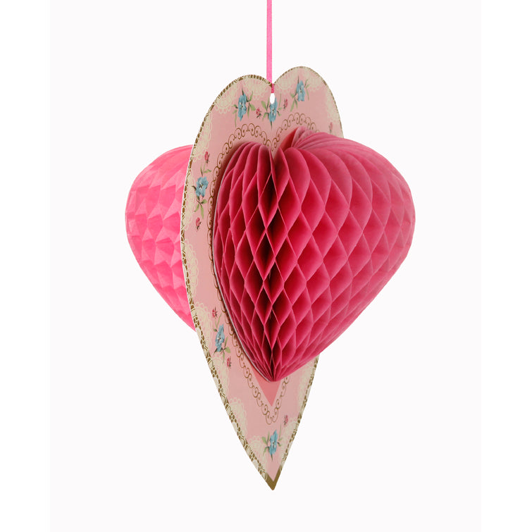 Honeycomb Heart  - Pink -  Party Decorations - Talking Tables - Putti Fine Furnishings Toronto Canada - 2