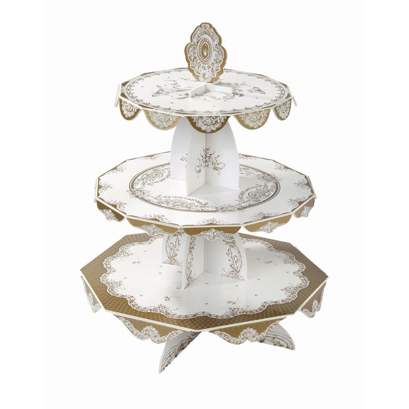 Party Porcelain Gold Three Level Cake Stand