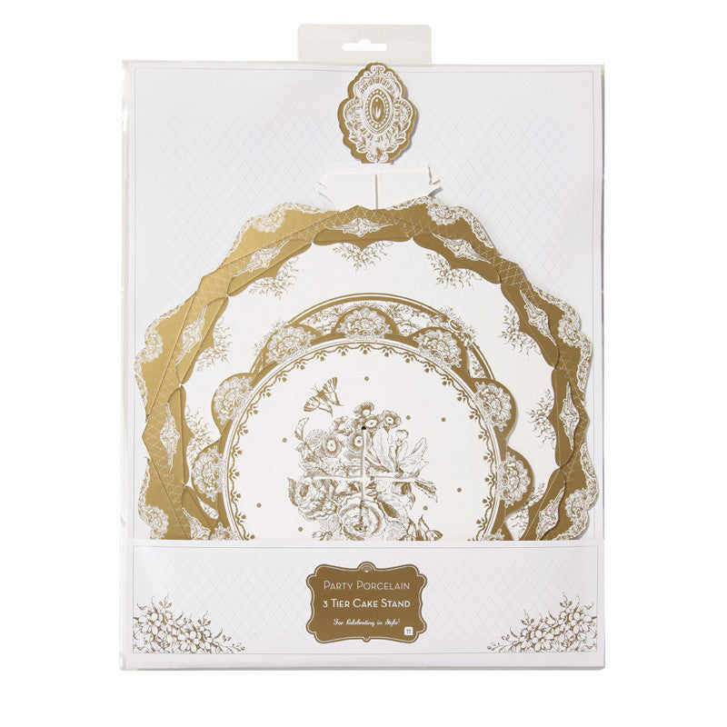 Party Porcelain Gold Three Level Cake Stand-Paper Plates-TT-Talking Tables-Putti Fine Furnishings