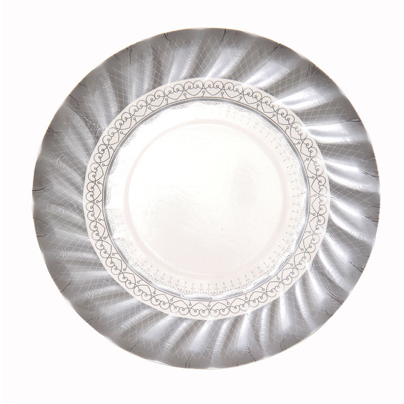 Party Porcelain Silver Small Paper Plates -  Party Supplies - Talking Tables - Putti Fine Furnishings Toronto Canada - 4