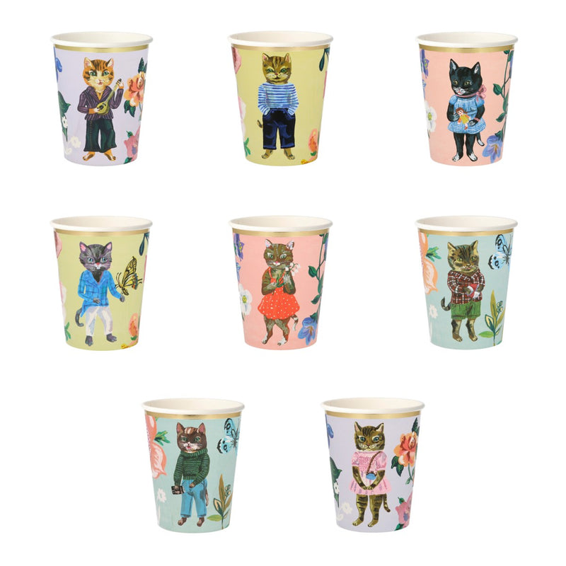 Meri Meri Nathalie Lete Flora Cats Party Cups | Putti Party Supplies
