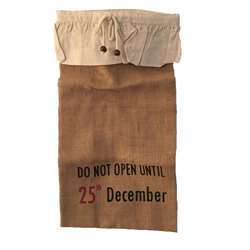 """Do not open until 25th December"" Burlap Gift Sack - Large"