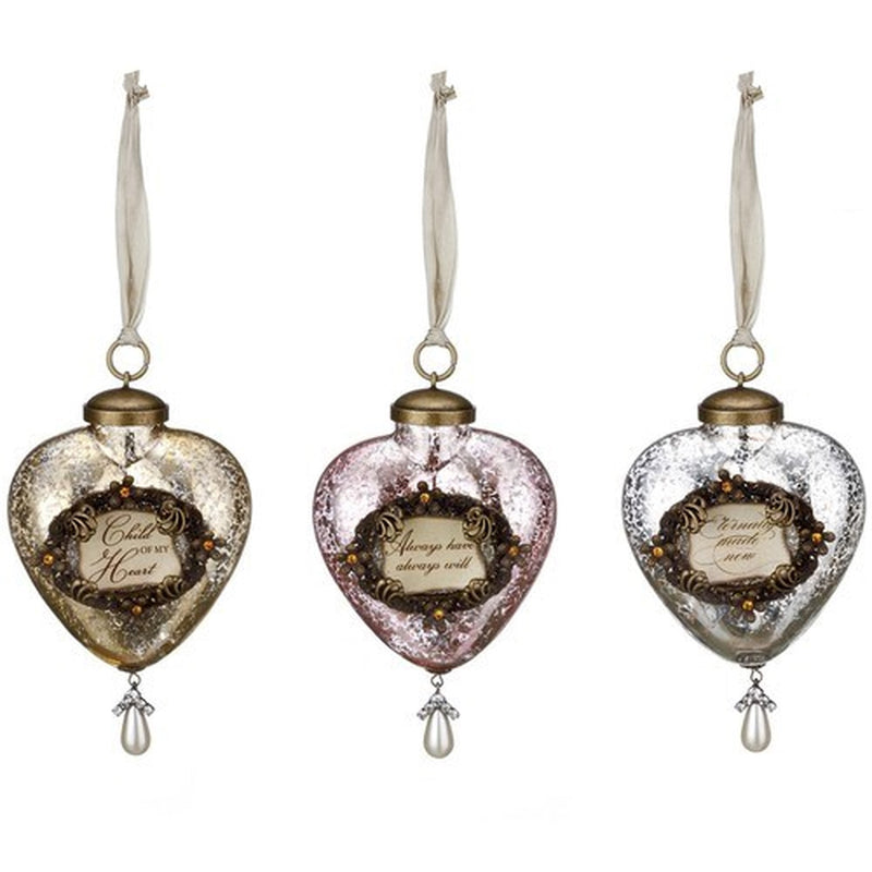 A Gilded Life Sentiment Heart Ornaments | Putti Christmas Canada