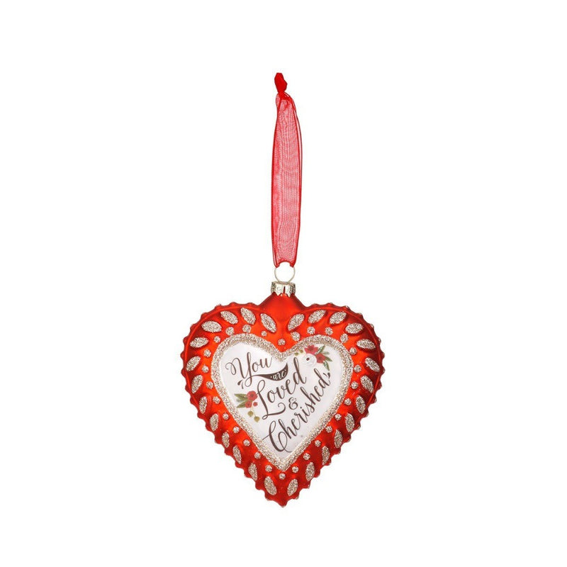 """You are Loved and Cherished"" Glass Heart Ornament 